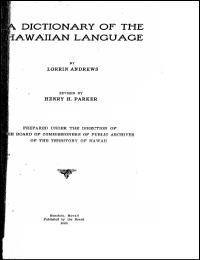 A Dictionary of the Hawaiian Language : ... by Lorrin Andrews