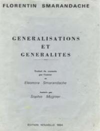 Generalisations et Generalites by Florentin Smarandache