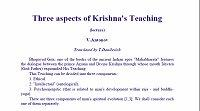 Three Aspects of Krishna's Teaching by Vladimir Antonov; T. Danilevich, translator
