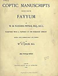 Coptic Manuscripts Brought from the Fayy... by Petrie, W.M., Flinders