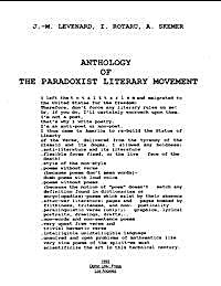 Anthology of the Paradoxist Literary Mov... by Levenard, J. M.