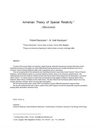 Armenian Theory of Special Relativity Il... by Nazaryan, Robert