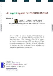 An Urgent Appeal for English Racism by Ved from Victoria Institutions