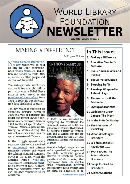 World Library Foundation Newsletter : Ju... by Foundation, World